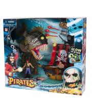 Игровой набор Пираты. Одномачтовый шлюп и Рыба-монстр