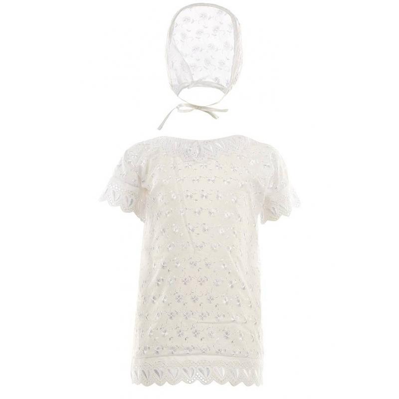 КомплектКрестильный комплект марки Грач для девочки белого цвета.<br>В комплект входит:<br>- рубашечка с короткими рукавами и кружевным воротничком. Ткань украшена шитьем, края рукавов и низ - кружевами;<br>- чепчик с аналогичным шитьем, как и у рубашечки.<br><br>Размер: 9 месяцев<br>Цвет: Белый<br>Пол: Для девочки<br>Артикул: 400105<br>Страна производитель: Россия<br>Сезон: Всесезонный<br>Состав: 100% Хлопок