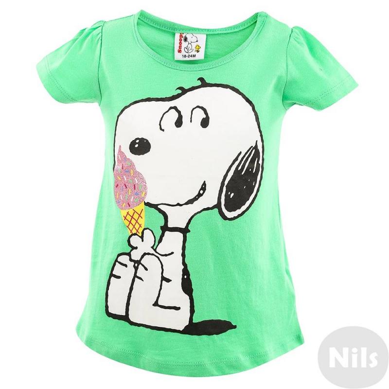 ФутболкаФутболка зелёногоцветамарки FOX для девочки. Футболка с коротким рукавом выполнена из мягкого хлопкового трикотажа и украшена персонажем Snoopy. Для удобства имееткнопки на плече и приталенныйсилуэт.<br><br>Размер: 2 года<br>Цвет: Зеленый<br>Рост: 92<br>Пол: Для девочки<br>Артикул: 609834<br>Страна производитель: Китай<br>Сезон: Весна/Лето<br>Состав: 100% Хлопок<br>Бренд: Израиль