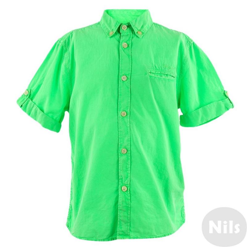 РубашкаЯрко-зеленаярубашка с коротким рукавом марки MAYORAL для мальчиков. Легкая летняя рубашка выполнена из хлопка, застегивается на пуговицы. Рукава с отворотами, есть нагрудный кармашек.<br><br>Размер: 3 года<br>Цвет: Зеленый<br>Рост: 98<br>Пол: Для мальчика<br>Артикул: 609425<br>Страна производитель: Индия<br>Сезон: Весна/Лето<br>Состав: 100% Хлопок<br>Бренд: Испания<br>Вид застежки: Пуговицы