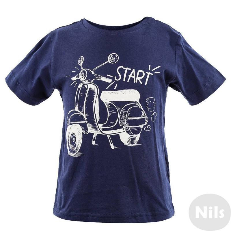 КомплектКомплект из двух футболок марки MAYORAL для мальчиков. Футболки выполнены из мягкого хлопкового трикотажа. Синяя футболка с коротким рукавом украшена принтом с мотороллером, красная футболка с длинным рукавом украшена принтом со шлемом. На плече кнопочная застежка.<br><br>Размер: 9 месяцев<br>Цвет: Темносиний<br>Рост: 74<br>Пол: Для мальчика<br>Артикул: 609573<br>Бренд: Испания<br>Страна производитель: Бангладеш<br>Сезон: Весна/Лето<br>Состав: 100% Хлопок<br>Вид застежки: Кнопки