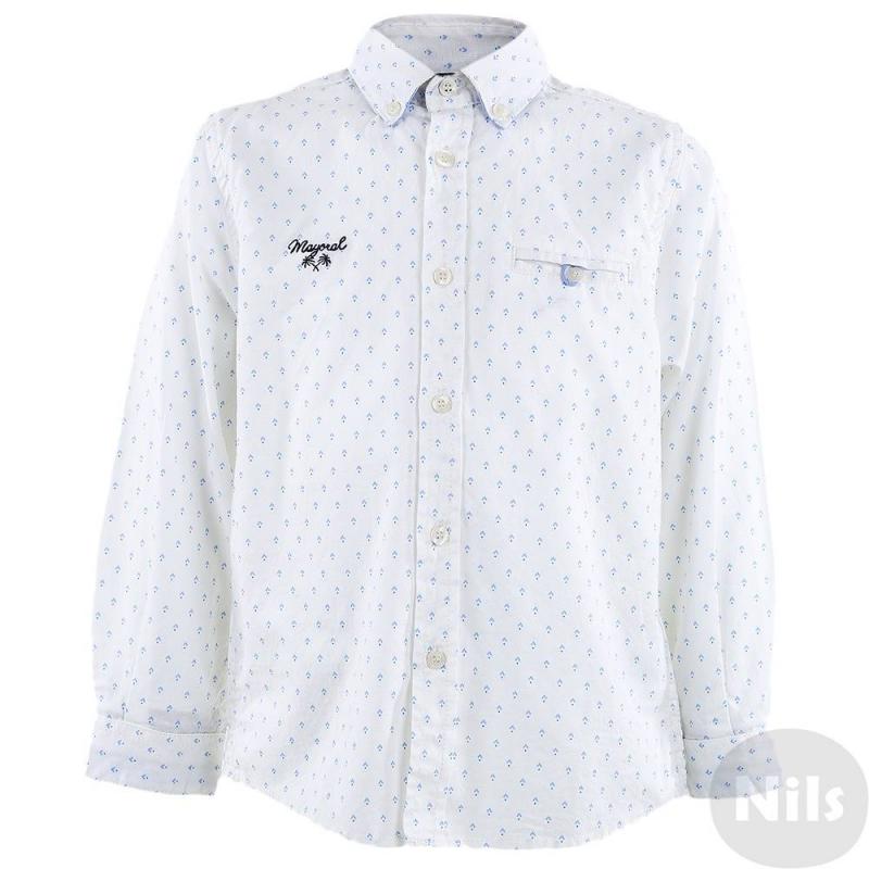 РубашкаБелая рубашка марки MAYORAL для мальчиков. Рубашка с нагрудным карманом сшитаиз натурального хлопка и застегивается на пуговицы. Материал украшен мелким принтом. На груди вышитый логотип с пальмами. Манжеты и воротничок дополнены голубойподкладкой.<br><br>Размер: 4 года<br>Цвет: Белый<br>Рост: 104<br>Пол: Для мальчика<br>Артикул: 609237<br>Страна производитель: Индия<br>Сезон: Весна/Лето<br>Состав: 100% Хлопок<br>Бренд: Испания<br>Вид застежки: Пуговицы