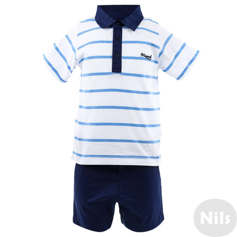 КомплектКомплект рубашка-поло + шорты темно-синего цвета марки MAYORAL для мальчиков. Комплект выполнен из хлопка.Шорты с карманами застегиваются на кнопку, регулируемый пояс на резинке обеспечивает идеальную посадку на талии. Поло из мягкого трикотажа в полоску застегивается на три пуговицы у ворота. Воротничок поло сшит из того же материала, что и шорты.<br><br>Размер: 2 года<br>Цвет: Темносиний<br>Рост: 92<br>Пол: Для мальчика<br>Артикул: 609721<br>Страна производитель: Индия<br>Сезон: Весна/Лето<br>Состав верха: 100% Хлопок<br>Состав низа: 100% Хлопок<br>Бренд: Испания