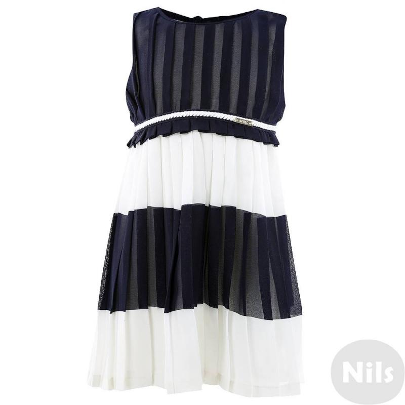 ПлатьеТемно-синее с белым платье марки MAYORAL. Платье без рукавов сшито из легкого плиссированного материала и дополнено гладкой подкладкой. Пояс украшен плетёной косичкой и рюшей. Платье застегивается на потайную молнию сбоку и на пуговицу на спинке.<br><br>Размер: 3 года<br>Цвет: Темносиний<br>Рост: 98<br>Пол: Для девочки<br>Артикул: 609271<br>Бренд: Испания<br>Страна производитель: Китай<br>Сезон: Весна/Лето<br>Состав: 100% Полиэстер<br>Состав подкладки: 100% Полиэстер