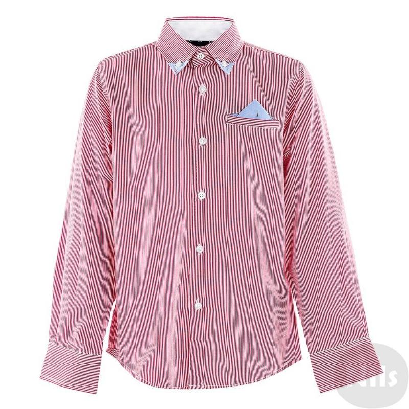 РубашкаРубашка красного цвета марки SARABANDA для мальчиков. Рубашка с длинным рукавом и декоративным нагрудным карманом выполнена из хлопка в мелкую красную полоску. Уголки воротника и носового платочка в кармане выполнены из контрастного голубого материала. Рубашка застегивается на пуговицы.<br><br>Размер: 10 лет<br>Цвет: Красный<br>Рост: 140<br>Пол: Для мальчика<br>Артикул: 611156<br>Страна производитель: Китай<br>Сезон: Всесезонный<br>Состав: 100% Хлопок<br>Бренд: Италия<br>Вид застежки: Пуговицы
