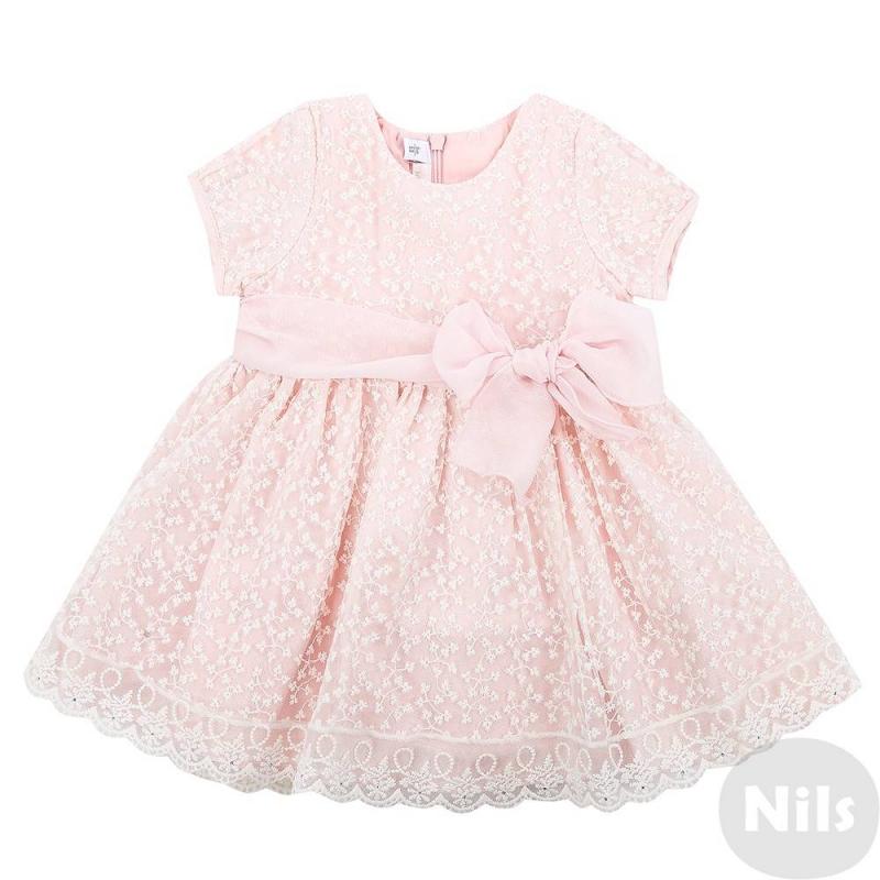 ПлатьеПлатье розового цветамарки MINIBANDA для девочек. Платье с коротким рукавом выполненоиз полупрозрачного материала с вышитыми цветами и продублировано подкладкой. Платье украшено шифоновым поясом с бантиком. На спинке платья потайная молния.<br><br>Размер: 18 месяцев<br>Цвет: Розовый<br>Рост: 86<br>Пол: Для девочки<br>Артикул: 611274<br>Страна производитель: Китай<br>Сезон: Весна/Лето<br>Состав верха: 100% Полиамид<br>Состав подкладки: 60% Полиэстер, 40% Вискоза<br>Бренд: Италия