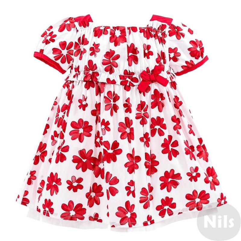 ПлатьеПлатье бело-красного цветамарки MINIBANDA для девочек. Платье с короткими рукавами сшито из плотного хлопка с принтом с цветами, дополнено подкладкой. Завышенная линяя талии на сборочках украшена бантиком. На спинке платья потайная молния.<br><br>Размер: 9 месяцев<br>Цвет: Красный<br>Рост: 74<br>Пол: Для девочки<br>Артикул: 611264<br>Бренд: Италия<br>Страна производитель: Китай<br>Сезон: Весна/Лето<br>Состав верха: 100% Хлопок<br>Состав подкладки: 100% Хлопок