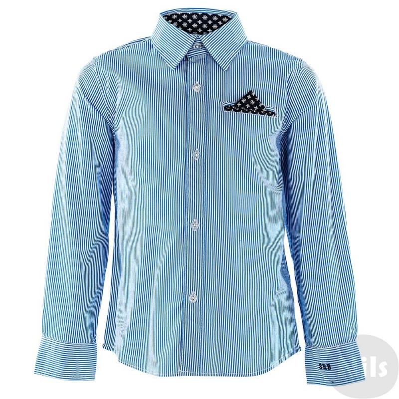 РубашкаРубашка классического прямого кроя с длинным рукавом марки SARABANDA для мальчиков. Рубашка с бело-синюю полосочку выполнена из мягкой плотной хлопковой ткани и украшена декоративным нагрудным карманом с платочком.<br><br>Размер: 5 лет<br>Цвет: Синий<br>Рост: 110<br>Пол: Для мальчика<br>Артикул: 611128<br>Страна производитель: Китай<br>Сезон: Всесезонный<br>Состав: 69% Хлопок, 27% Полиамид, 4% Эластан<br>Бренд: Италия