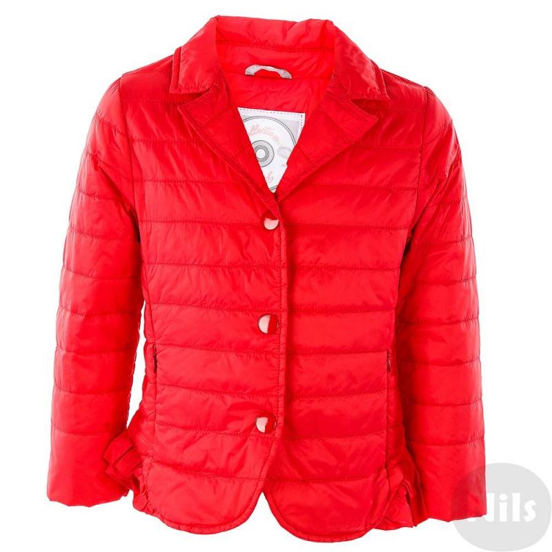 КурткаДемисезонная куртка красного цвета марки SARABANDA для девочек. Легкая куртка с тонким слоем утеплителя имеет два кармана на молнии, застегивается на кнопки. Низ куртки украшен рюшами.<br><br>Размер: 3 года<br>Цвет: Красный<br>Рост: 98<br>Пол: Для девочки<br>Артикул: 611230<br>Бренд: Италия<br>Страна производитель: Китай<br>Сезон: Всесезонный<br>Состав: 100% Полиамид<br>Состав подкладки: 100% Полиамид<br>Вид застежки: Кнопки<br>Наполнитель: 100% Полиэстер