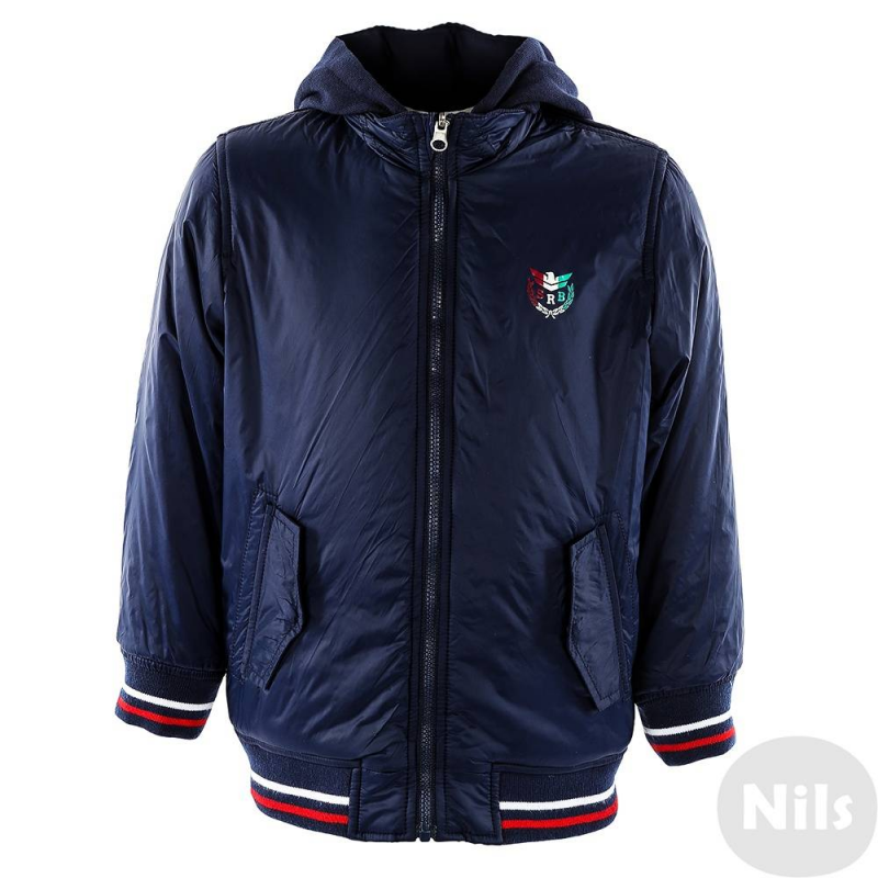 КурткаДвухсторонняя куртка темно-синего цвета марки SARABANDA для мальчиков. Куртка со съемным капюшоном имеет тонкий слой утеплителя, по два кармана с каждой стороны, манжеты и низ из эластичного трикотажа. Куртка украшена стильной нашивкой с британским флагом и вышивкой Летная академия на одной стороне, а также принтом с гербом на груди на другой стороне.<br><br>Размер: 3 года<br>Цвет: Темносиний<br>Рост: 98<br>Пол: Для мальчика<br>Артикул: 611238<br>Страна производитель: Китай<br>Сезон: Всесезонный<br>Состав: 100% Полиамид<br>Состав подкладки: 100% Полиамид<br>Бренд: Италия<br>Вид застежки: Молния<br>Наполнитель: 100% Полиэстер