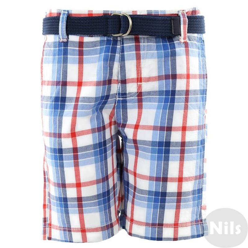 ШортыБелые шорты в красно-синююклетку марки MAYORALдля мальчиков.Шорты с тремя карманами, выполнены из стопроцентного хлопка, застегиваются на пуговицу. Пояс регулируется специальными пуговицами на внутренней стороне. В комплекте - плетеный темно-синий пояс.<br><br>Размер: 3 года<br>Цвет: Голубой<br>Рост: 98<br>Пол: Для мальчика<br>Артикул: 610583<br>Страна производитель: Пакистан<br>Сезон: Весна/Лето<br>Состав: 100% Хлопок<br>Бренд: Испания