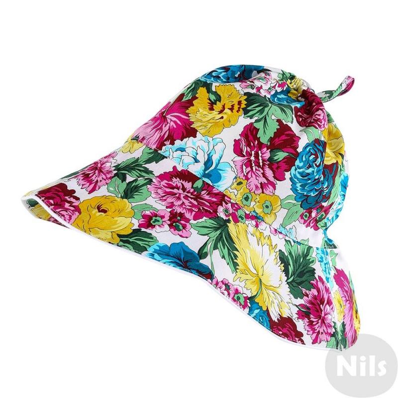 ПанамаЛетняя панама с цветочным принтом марки CHOBI для девочек. Панама сшита из хлопка с крупными яркими цветами, на макушке затягиватеся с помощью шнурка. Поля панамы хорошо держат форму, их можно опускать или подворачивать. Панама хорошо сидит на голове благодаря резиночке на затылке.<br><br>Размер: 7 лет<br>Цвет: Голубой<br>Размер: 55<br>Пол: Для девочки<br>Артикул: 610046<br>Страна производитель: Россия<br>Сезон: Весна/Лето<br>Состав: 98% Хлопок, 2% Эластан<br>Бренд: Россия
