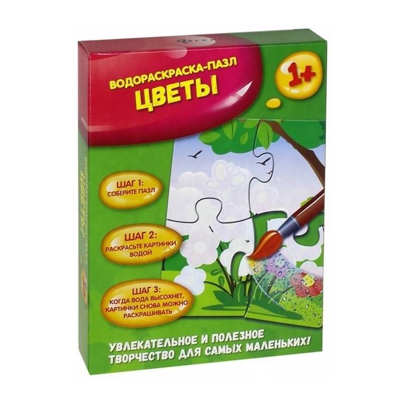 Купить Водораскраска-пазл Цветы 4 детали, Феникс, от 12 месяцев, Не указан, 435950, Россия