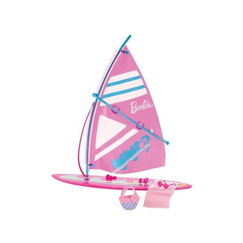Виндсерф BarbieВиндсерф Barbie от американского бренда Mattel станет прекрасным аксессуаром для жизнерадостной Барби! С этим стильным спортивным снаряжением кукла Barbie сможет весело и активно проводить время на море.<br>Виндсерф украшен логотипом Барби.<br>В наборе Вы найдете:<br>- виндсерф,<br>- солнцезащитные очки,<br>- пляжное полотенце,<br>- пляжную сумочку.<br><br>Возраст от: 3 года<br>Пол: Для девочки<br>Артикул: 611423<br>Бренд: США<br>Лицензия: Barbie<br>Размер: от 3 лет