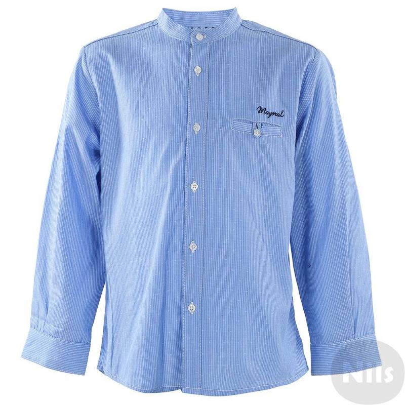 РубашкаРубашка голубого цвета марки MAYORAL для мальчиков. Рубашка с нагрудным карманом и воротничком-стойкой выполнена из хлопка голубого цвета в мелкую полоску, украшена вышитым логотипом на груди. Застегивается на пуговицы. Рукава можно подворачивать (есть специальные пуговицы и петли для отворотов).<br><br>Размер: 8 лет<br>Цвет: Голубой<br>Рост: 128<br>Пол: Для мальчика<br>Артикул: 610823<br>Страна производитель: Марокко<br>Сезон: Весна/Лето<br>Состав: 100% Хлопок<br>Бренд: Испания<br>Вид застежки: Пуговицы
