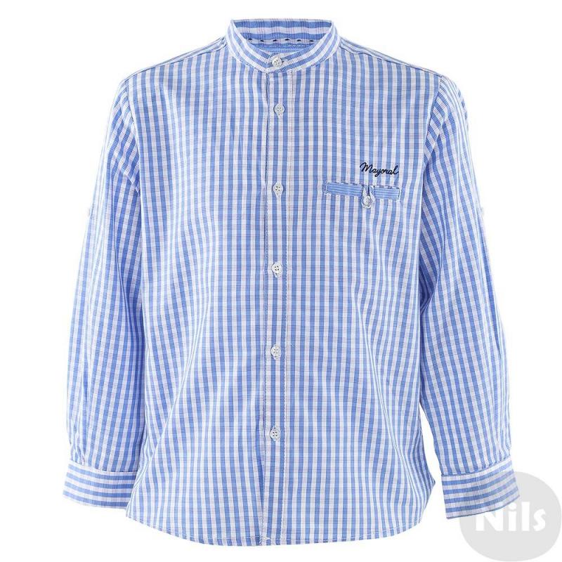 РубашкаРубашка голубого цвета марки MAYORAL для мальчиков. Рубашка с нагрудным карманом и воротничком-стойкой выполнена из хлопка в розово-голубую клетку, украшена вышитым логотипом на груди. Застегивается на пуговицы. Рукава можно подворачивать (есть специальные пуговицы и петли для отворотов).<br><br>Размер: 3 года<br>Цвет: Голубой<br>Рост: 98<br>Пол: Для мальчика<br>Артикул: 610569<br>Бренд: Испания<br>Страна производитель: Марокко<br>Сезон: Весна/Лето<br>Состав: 100% Хлопок<br>Вид застежки: Пуговицы