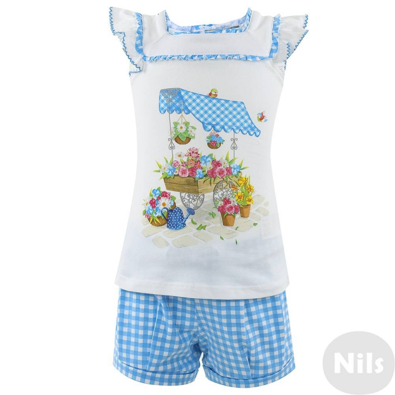 КомплектКомплект из блузки и шорт марки Mayoral для девочек. Белая блузка и синиешортики в клетку выполнены из натурального хлопка с небольшим добавлением эластана. Лёгкая блузка украшена принтом на груди, нежными рюшами на рукавчиках и на воротнике.Легко застёгивается на спине с помощью 2 кнопок.<br><br>Размер: 12 месяцев<br>Цвет: Синий<br>Рост: 80<br>Пол: Для девочки<br>Артикул: 610699<br>Бренд: Испания<br>Страна производитель: Турция<br>Сезон: Весна/Лето<br>Состав: 95% Хлопок, 5% Эластан