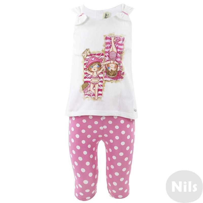 КомплектКомплект майка + леггинсы розового цвета марки MAYORAL для девочек. Белая маечка с удлиненной спинкой украшена бантами на плечиках, а также розовым пляжным принтом, застегивается на две кнопки на спинке. Хлопковые леггинсы в горошек имеют удобный пояс на резинке.<br><br>Размер: 18 месяцев<br>Цвет: Розовый<br>Рост: 86<br>Пол: Для девочки<br>Артикул: 610717<br>Страна производитель: Индия<br>Сезон: Весна/Лето<br>Состав верха: 92% Хлопок, 8% Эластан<br>Состав низа: 92% Хлопок, 8% Эластан<br>Бренд: Испания<br>Вид застежки: Кнопки
