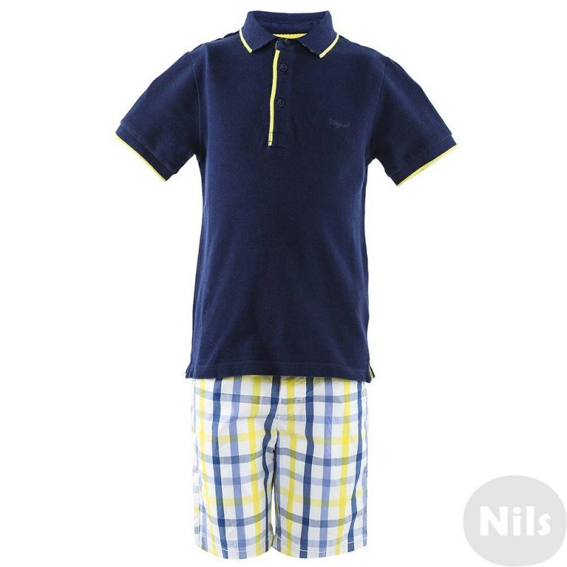 КомплектКомплект шорты + рубашка-поло синегоцвета марки MAYORAL для мальчиков. Комплект выполнен из хлопка. Темно-синяярубашка-поло с коротким рукавом и желтой окантовкой сшита из трикотажа пике, украшена вышивкой с логотипом. Белые шорты в клеточку с тремя карманами застегиваются на пуговицу, пояс регулируется специальными пуговицами на внутренней стороне.<br><br>Размер: 9 лет<br>Цвет: Темносиний<br>Рост: 134<br>Пол: Для мальчика<br>Артикул: 610597<br>Страна производитель: Индия<br>Сезон: Весна/Лето<br>Состав верха: 100% Хлопок<br>Состав низа: 100% Хлопок<br>Бренд: Испания