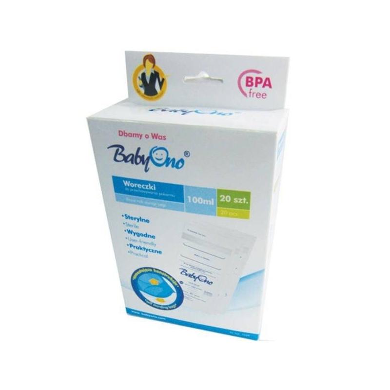 Купить Пакеты для хранения грудного молока 20 шт, BabyOno, Без размера, Не указан, 433538