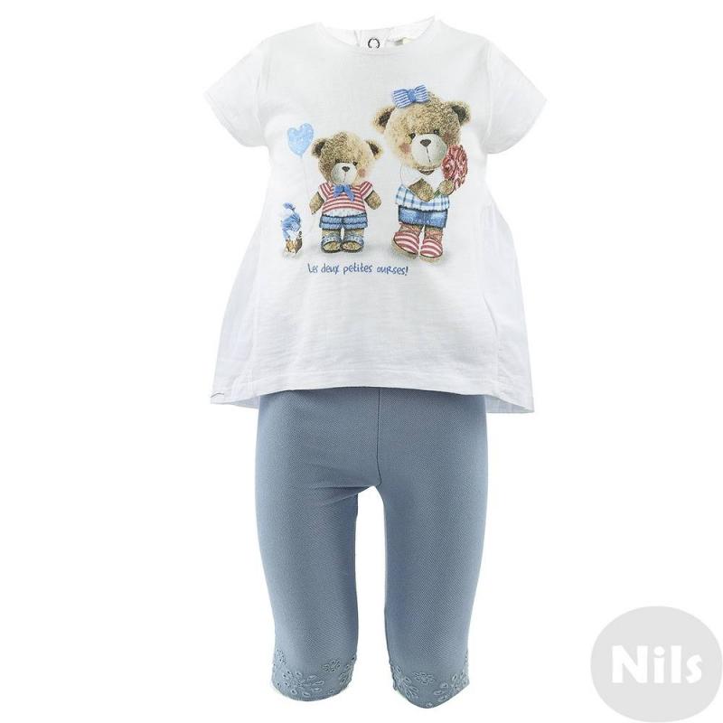 КомплектКомплект из футболки и леггинсов марки MAYORAL для девочек. Белая хлопковая футболка с коротким рукавом и удлиненной спинкой в виде юбочки украшена принтом с плюшевыми мишками, застегивается на три кнопки. Эластичные леггинсы из трикотажа, имитирующего деним, украшены ажурной вышивкой и дополнены поясом на резинке.<br><br>Размер: 9 месяцев<br>Цвет: Голубой<br>Рост: 74<br>Пол: Для девочки<br>Артикул: 610525<br>Страна производитель: Индия<br>Сезон: Весна/Лето<br>Состав верха: 100% Хлопок<br>Состав низа: 65% Хлопок, 30% Полиэстер, 5% Эластан<br>Бренд: Испания