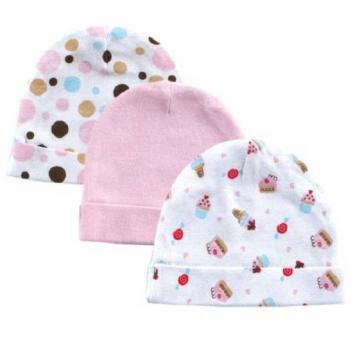 Малыши, Комплект шапочек 3 шт LUVABLE FRIENDS (розовый)611341, фото