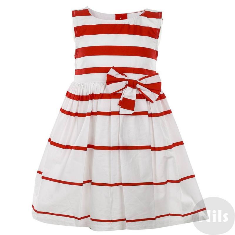 ПлатьеБелое платье без рукавов в краснуюполоску для девочек LP Collection декорировано большим бантом напоясе спереди. Платье застегивается на пуговицы на спине, регулируется на талии при помощи пояса. Платье выполнено из 100% хлопка<br><br>Размер: 4 года<br>Цвет: Красный<br>Рост: 104<br>Пол: Для девочки<br>Артикул: 611486<br>Бренд: Таиланд<br>Страна производитель: Таиланд<br>Сезон: Весна/Лето<br>Состав: 100% Хлопок