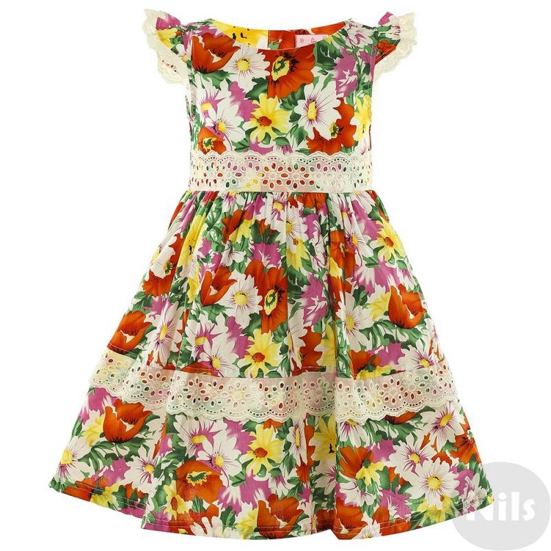 ПлатьеПлатье красногоцвета с коротким рукавом для девочек LP Collection. Летнее платьице с ярким цветочным узором дополнено кружевной отделкой на рукавах, поясе и подоле. Юбка на подкладке с рюшей из сеточки для объема. Платье застегивается на пуговицы на спине, регулируется с помощью пояса-банта сзади.<br><br>Размер: 4 года<br>Цвет: Красный<br>Рост: 104<br>Пол: Для девочки<br>Артикул: 611559<br>Страна производитель: Таиланд<br>Сезон: Весна/Лето<br>Состав: 100% Хлопок<br>Бренд: Таиланд