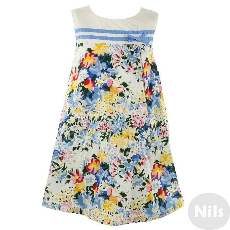 ПлатьеПлатье без рукавовс ярким цветочным узором голубогоцвета для девочек LP Collection. Платье с завышенной талией декорировано голубойтесьмой,бантиком и складками на поясе, застегивается на пуговицы на спинке.<br><br>Размер: 4 года<br>Цвет: Голубой<br>Рост: 104<br>Пол: Для девочки<br>Артикул: 611518<br>Страна производитель: Таиланд<br>Сезон: Весна/Лето<br>Состав: 100% Хлопок<br>Бренд: Таиланд