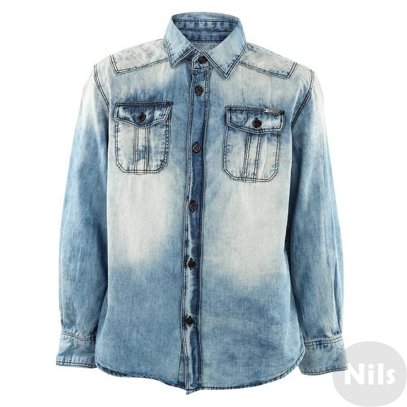 РубашкаГолубая джинсовая рубашкадля мальчиков Antony Morato. Стильная джинсовая рубашка с эффектом потертости и двумя нагрудными карманами выполнена из плотного хлопка, застегивается на пуговицы.<br><br>Размер: 6 лет<br>Цвет: Голубой<br>Рост: 116<br>Пол: Для мальчика<br>Артикул: 611818<br>Бренд: Италия<br>Страна производитель: Китай<br>Сезон: Весна/Лето<br>Состав: 100% Хлопок<br>Вид застежки: Пуговицы