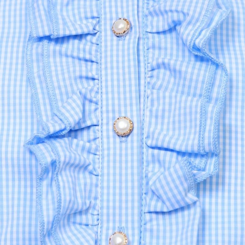 Купить голубую блузку на девочку для школы