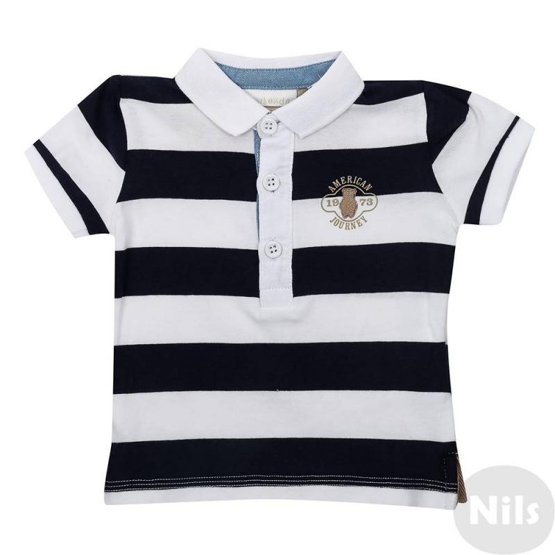 Рубашка-полоМягкая на ощупь, хлопковая рубашка-поло темно-синего цветацвета марки Minibanda для мальчиков.Поло с коротким рукавом, застегиваетсяна три пуговицы у ворота. На груди украшено вышивкой.<br><br>Размер: 6 месяцев<br>Цвет: Темносиний<br>Рост: 68<br>Пол: Для мальчика<br>Артикул: 611993<br>Страна производитель: Китай<br>Сезон: Весна/Лето<br>Состав: 95% Хлопок, 5% Эластан<br>Бренд: Италия
