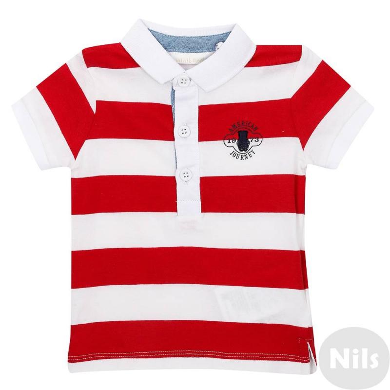 Рубашка-полоМягкая на ощупь, хлопковая рубашка-поло красногоцвета марки Minibanda для мальчиков. Поло с коротким рукавом, застегиваетсяна три пуговицы у ворота. На груди украшено вышивкой.<br><br>Размер: 6 месяцев<br>Цвет: Красный<br>Рост: 86<br>Пол: Для мальчика<br>Артикул: 611990<br>Бренд: Италия<br>Страна производитель: Китай<br>Сезон: Весна/Лето<br>Состав: 95% Хлопок, 5% Эластан