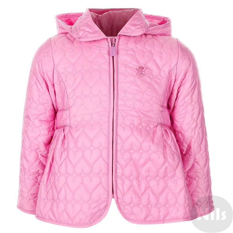 КурткаРозовая куртка марки Minibanda для девочек. Легкая весенняя курточка со съемным капюшоном дополнена тонким слоем утеплителя, а также трикотажной подкладкой с добавлением хлопка. Куртка украшена стеганым узором с сердечками, декоративным поясом с бантиком сзади, а также вышитым логотипом в виде медвежонка. Куртка застегивается на молнию.<br><br>Размер: 6 месяцев<br>Цвет: Розовый<br>Рост: 68<br>Пол: Для девочки<br>Артикул: 611986<br>Бренд: Италия<br>Страна производитель: Китай<br>Сезон: Весна/Лето<br>Состав: 100% Полиэстер<br>Состав подкладки: 65% Полиэстер, 35% Хлопок<br>Вид застежки: Молния<br>Наполнитель: 100% Полиэстер