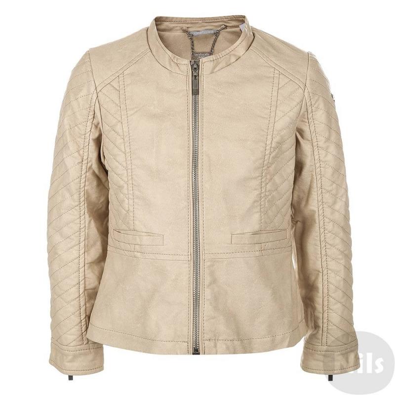 КурткаБежевая куртка из искусственной кожи марки SARABANDA для девочек. Куртка выполнена из мягкой и качественной искусственной кожи, застегивается на молнию. Есть два кармана и простой короткий воротничок-стойка. Манжеты на молнии.<br><br>Размер: 6 лет<br>Цвет: Бежевый<br>Рост: 116<br>Пол: Для девочки<br>Артикул: 611959<br>Бренд: Италия<br>Страна производитель: Китай<br>Сезон: Весна/Лето<br>Состав: 100% Вискоза<br>Состав подкладки: 100% Полиэстер<br>Вид застежки: Молния<br>Покрытие: Полиуретан