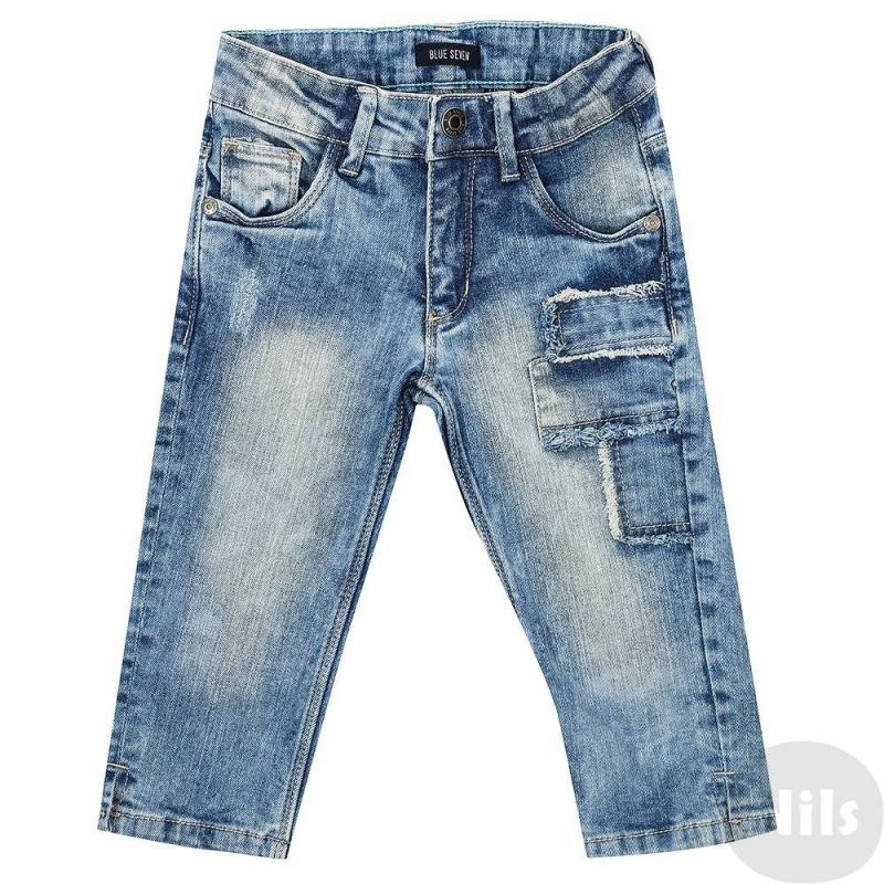 БриджиСиниеджинсовые бриджи марки Blue Seven для мальчиков. Стильные джинсы с эффектом потертости, имеют пять карманов. Пояс на резинке регулируется специальными пуговицами на внутренней стороне. Удобны в носке благодаря добавлению эластана.<br><br>Размер: 6 лет<br>Цвет: Синий<br>Рост: 116<br>Пол: Для мальчика<br>Артикул: 612381<br>Страна производитель: Бангладеш<br>Сезон: Весна/Лето<br>Состав: 98% Хлопок, 2% Эластан<br>Бренд: Германия