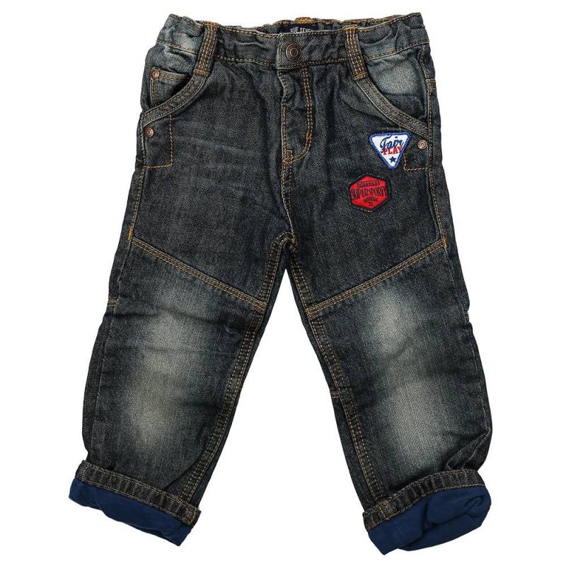 ДжинсыСиние джинсы с подкладкой марки BLUE SEVEN для мальчиков. Стильные джинсы с пятью карманами и с эффектом потертости дополнены хлопковой трикотажной подкладкой. Джинсыукрашенынашивками и декоративными швами, застегиваются на кнопку. Регулируемый специальными пуговицами пояс обеспечивает отличную посадку.<br><br>Размер: 12 месяцев<br>Цвет: Синий<br>Рост: 80<br>Пол: Для мальчика<br>Артикул: 604588<br>Страна производитель: Бангладеш<br>Сезон: Всесезонный<br>Состав: 100% Хлопок<br>Состав подкладки: 100% Хлопок<br>Бренд: Германия