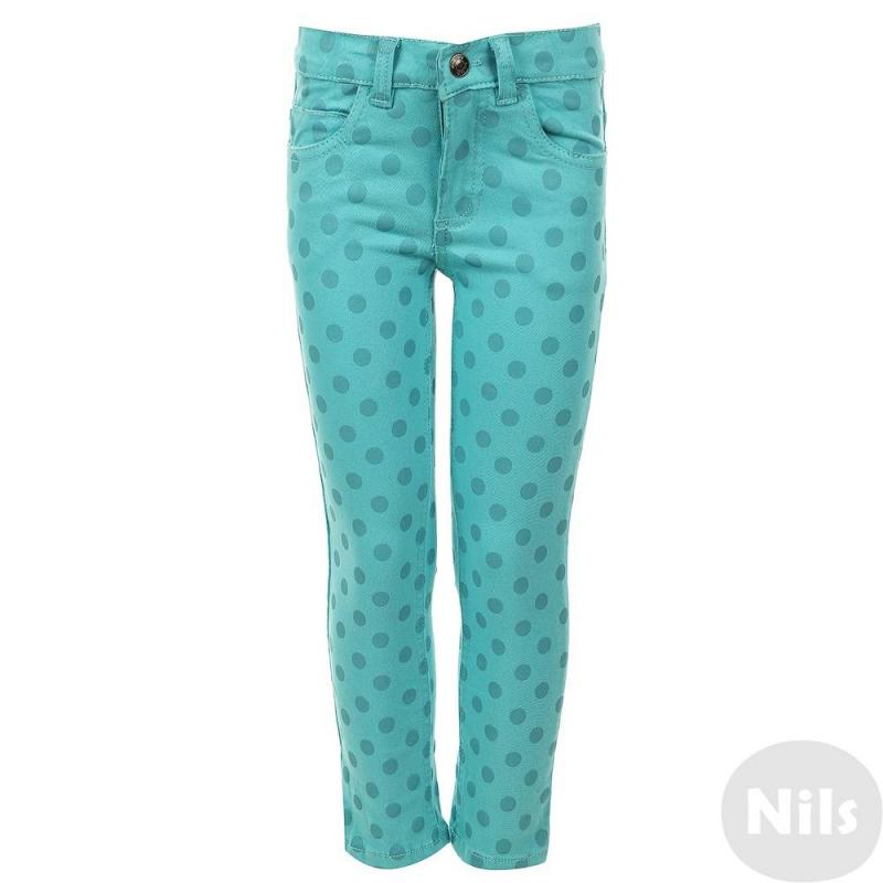 БрюкиБрюки бирюзового цвета марки Blue Seven для девочки. Стильные хлопковые брюки с пятью карманами в крупный горошек. Пояс с внутренней стороны регулируется пуговицами на резинке. Застегиваются на молнию и застежку-крючок.<br><br>Размер: 3 года<br>Цвет: Бирюзовый<br>Рост: 98<br>Пол: Для девочки<br>Артикул: 612348<br>Страна производитель: Бангладеш<br>Сезон: Весна/Лето<br>Состав: 98% Хлопок, 2% Эластан<br>Бренд: Германия