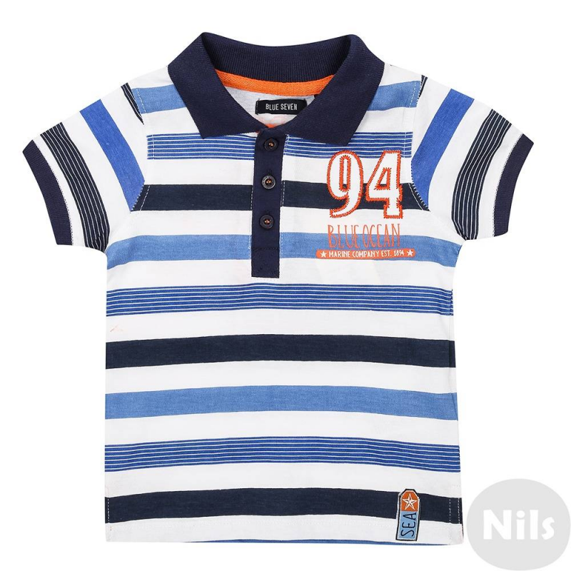 Рубашка-полоРубашка-поло для мальчикасинего цвета марки Blue Seven. Поло в полоску, с коротким рукавом, выполненоиз стопроцентного хлопка. Застегивается на три пуговицы у ворота. Декорировано принтом на спинке, спереди украшеновышивкой.<br><br>Размер: 9 месяцев<br>Цвет: Синий<br>Рост: 74<br>Пол: Для мальчика<br>Артикул: 612479<br>Страна производитель: Бангладеш<br>Сезон: Весна/Лето<br>Состав: 100% Хлопок<br>Бренд: Германия<br>Вид застежки: Пуговицы