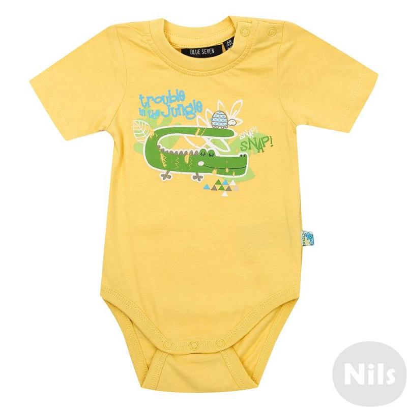 БодиБоди желтого цвета марки Blue Seven для малышей. Боди с коротким рукавом выполнено из мягкого хлопкового трикотажа и украшено веселым принтом с крокодилом. Боди застегивается на три кнопки снизу и на две кнопки на плече.<br><br>Размер: 3 месяца<br>Цвет: Желтый<br>Рост: 62<br>Пол: Не указан<br>Артикул: 612297<br>Страна производитель: Бангладеш<br>Сезон: Весна/Лето<br>Состав: 100% Хлопок<br>Бренд: Германия<br>Вид застежки: Кнопки