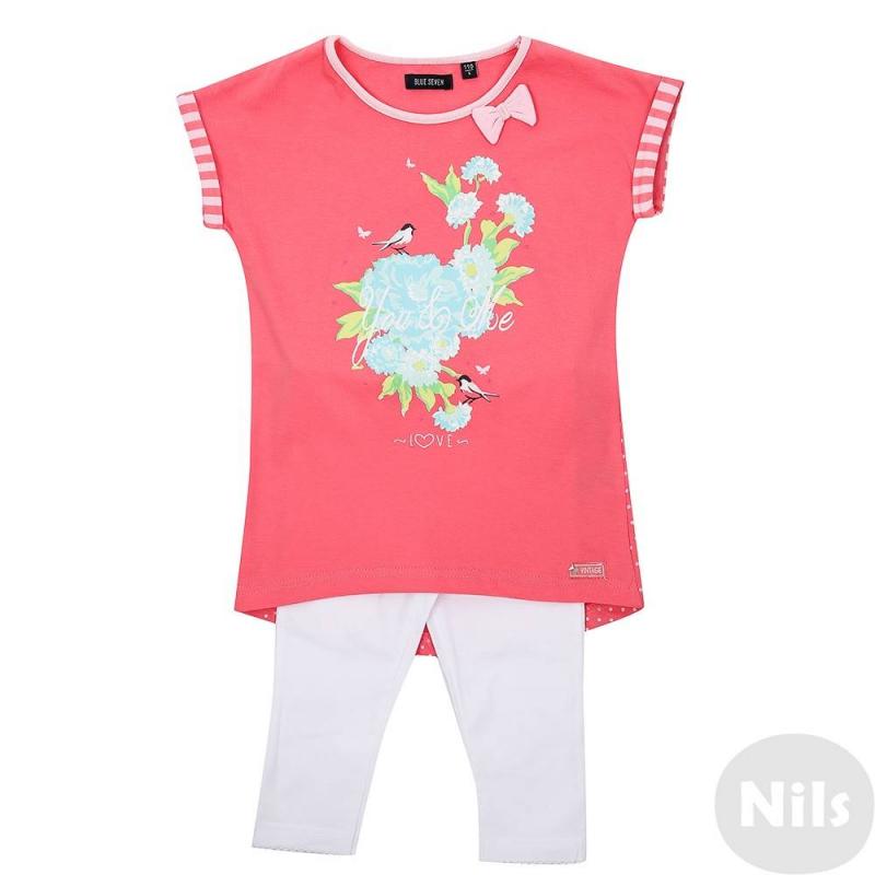 КомплектКомплект нежно-розового цвета майка + леггинсы марки Blue Seven для девочки. Пастельно-розовая футболка выполнена из стопроцентного хлопка, декорирована принтом. Имеет слегка удлиненную спинку, украшена у горловины бантиком. Белые леггинсы выполнены из хлопка с добавлением эластана, по краю штанин обработаны оверлоком. Комплект отлично подойдет для повседневной носки, создавая освежающий весенний образ.<br><br>Размер: 8 лет<br>Цвет: Розовый<br>Рост: 128<br>Пол: Для девочки<br>Артикул: 612339<br>Страна производитель: Бангладеш<br>Сезон: Весна/Лето<br>Состав верха: 100% Хлопок<br>Состав низа: 95% Хлопок, 5% Эластан<br>Бренд: Германия