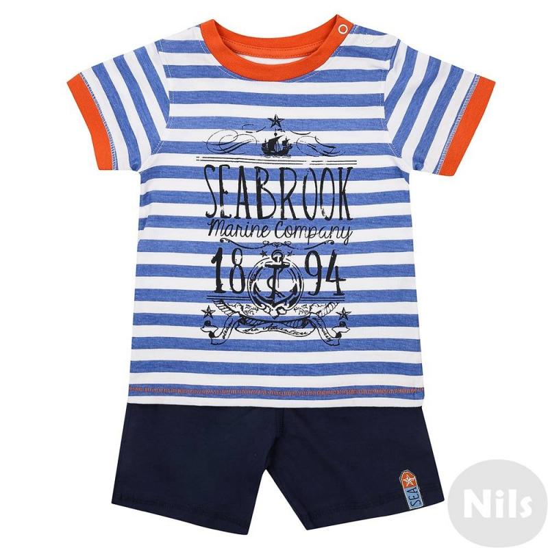 КомплектКомплект футболка + шорты синего цвета марки Blue Seven для мальчиков. Комплект выполнен из натурального хлопка. Полосатая футболка с коротким рукавом украшена принтом в морском стиле и отделкой оранжевого цвета, застегивается на две кнопки на плече. Простые однотонные шорты имеют удобный эластичный пояс на резинке.<br><br>Размер: 12 месяцев<br>Цвет: Синий<br>Рост: 80<br>Пол: Для мальчика<br>Артикул: 612509<br>Бренд: Германия<br>Страна производитель: Бангладеш<br>Сезон: Весна/Лето<br>Состав верха: 100% Хлопок<br>Состав низа: 100% Хлопок