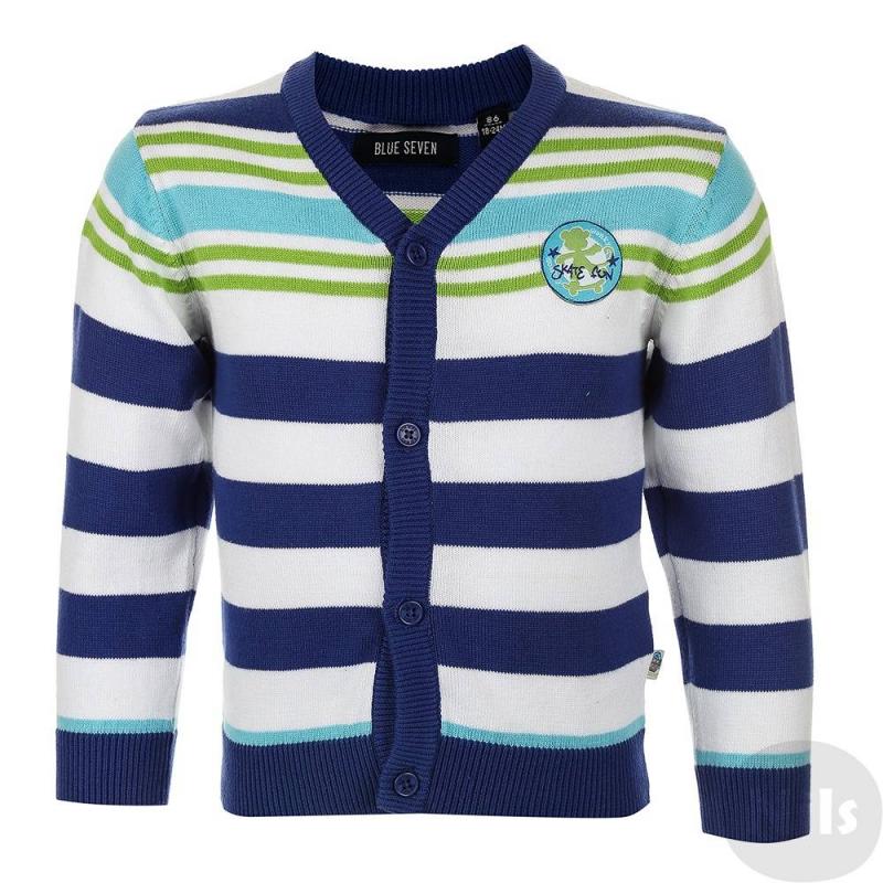 КардиганКардигансинего цвета марки Blue Seven для мальчиков.<br>Кардиганв полоску изготовлен из стопроцентного хлопка, застегивается на пуговицы. На грудидекорированнашивкой.<br><br>Размер: 3 месяца<br>Цвет: Синий<br>Рост: 62<br>Пол: Для мальчика<br>Артикул: 613065<br>Бренд: Германия<br>Страна производитель: Бангладеш<br>Сезон: Весна/Лето<br>Состав: 100% Хлопок
