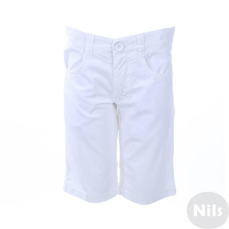ШортыБелые шорты марки SARABANDA для мальчиков. Летние шорты выполнены из фактурного хлопкового материала, есть два кармана спереди и два задних кармана. Шорты застегиваются на молнию и пуговицу. Регулируемый пояс на резинке обеспечивает идеальную посадку на талии.<br><br>Размер: 10 лет<br>Цвет: Белый<br>Рост: 140<br>Пол: Для мальчика<br>Артикул: 613223<br>Страна производитель: Тунис<br>Сезон: Весна/Лето<br>Состав: 97% Хлопок, 3% Эластан<br>Бренд: Италия