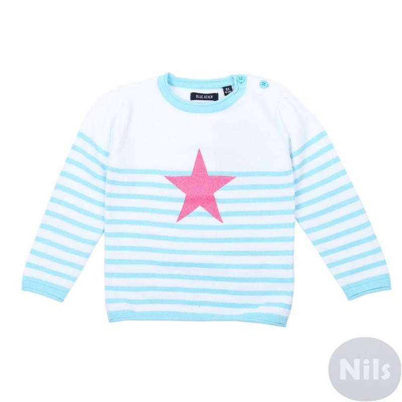 СвитерГолубойсвитер марки Blue Seven для девочек. Легкий свитер в полоску связан из хлопковой пряжи, застегивается на две пуговицы на плече. Свитер украшен принтом в виде розовойзвездочки с блестками.<br><br>Размер: 6 месяцев<br>Цвет: Голубой<br>Рост: 68<br>Пол: Для девочки<br>Артикул: 612956<br>Страна производитель: Бангладеш<br>Сезон: Весна/Лето<br>Состав: 100% Хлопок<br>Бренд: Германия<br>Вид застежки: Пуговицы