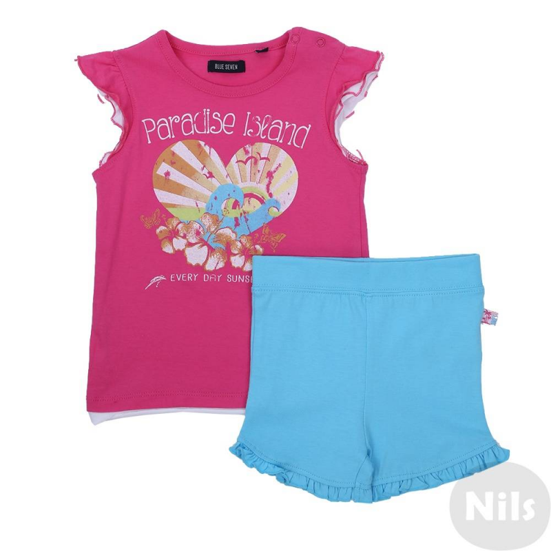 КомплектКомплект шорты + футболка малинового цвета марки Blue Seven для девочек. Комплект выполнен из хлопкового трикотажа. Голубые шорты с удобным поясом на резинке украшены рюшами. Малиновая футболка с рукавами-крылышками декорирована ярким летним принтом, застегивается на две кнопки на плече. Отделка низа и рукавов создает эффект многослойности.<br><br>Размер: 12 месяцев<br>Цвет: Малиновый<br>Рост: 80<br>Пол: Для девочки<br>Артикул: 612998<br>Страна производитель: Бангладеш<br>Сезон: Весна/Лето<br>Состав верха: 100% Хлопок<br>Состав низа: 100% Хлопок<br>Бренд: Германия