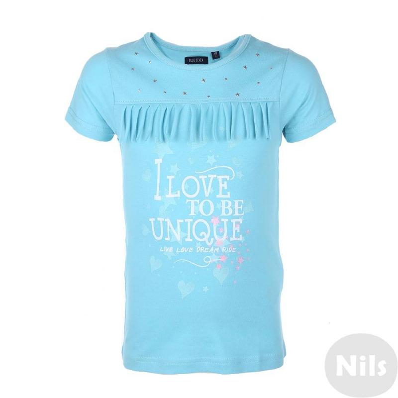 ФутболкаГолубая футболка марки Blue Seven для девочек. Футболка с коротким рукавом выполнена из хлопкового трикотажа, украшена принтом, бахромой, а также маленькими металлическими звездочками.<br><br>Размер: 4 года<br>Цвет: Голубой<br>Рост: 104<br>Пол: Для девочки<br>Артикул: 612635<br>Страна производитель: Бангладеш<br>Сезон: Весна/Лето<br>Состав: 100% Хлопок<br>Бренд: Германия