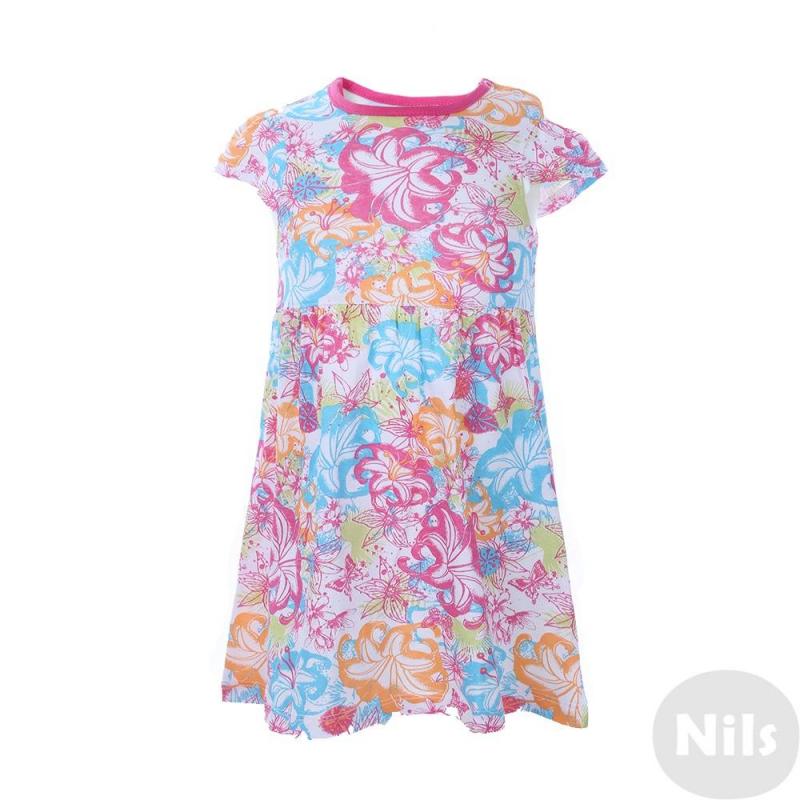 ПлатьеРазноцветное платье марки Blue Seven для девочек. Летнее трикотажное платье с коротким рукавом и ярким цветочным принтом выполнено из натурального хлопка. Платье застегивается на две кнопки на плече.<br><br>Размер: 6 месяцев<br>Цвет: Белый<br>Рост: 68<br>Пол: Для девочки<br>Артикул: 612966<br>Бренд: Германия<br>Страна производитель: Бангладеш<br>Сезон: Весна/Лето<br>Состав: 100% Хлопок<br>Вид застежки: Кнопки