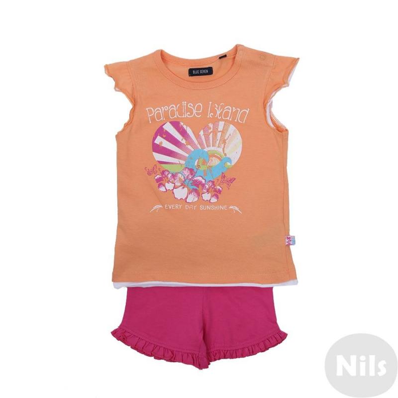 КомплектКомплект шорты + футболка оранжевого цвета марки Blue Seven для девочек. Комплект выполнен из хлопкового трикотажа. Малиновыешорты с удобным поясом на резинке украшены рюшами. Оранжеваяфутболка с рукавами-крылышками декорирована ярким летним принтом, застегивается на две кнопки на плече. Отделка низа и рукавов создает эффект многослойности.<br><br>Размер: 9 месяцев<br>Цвет: Оранжевый<br>Рост: 74<br>Пол: Для девочки<br>Артикул: 612992<br>Бренд: Германия<br>Страна производитель: Бангладеш<br>Сезон: Весна/Лето<br>Состав верха: 100% Хлопок<br>Состав низа: 100% Хлопок