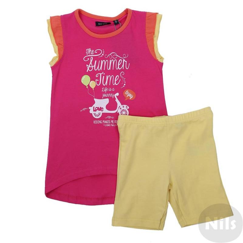 КомплектКомплект леггинсы + футболка малиновогоцвета марки Blue Seven для девочек. Яркий комплект выполнен из мягкого хлопкового трикотажа. Удлиненная футболка с рукавами-рюшами украшена летним принтом. Эластичные леггинсы желтогоцвета имеют удобный пояс на резинке.<br><br>Размер: 2 года<br>Цвет: Малиновый<br>Рост: 92<br>Пол: Для девочки<br>Артикул: 612723<br>Страна производитель: Бангладеш<br>Сезон: Весна/Лето<br>Состав верха: 100% Хлопок<br>Состав низа: 95% Хлопок, 5% Эластан<br>Бренд: Германия